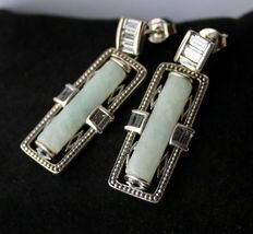 Sterling silver earrings with rectangle cut Jade approx. 22x5mm and decorated with baguette cut colorless stones.