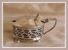 Sterling silver pierced mustard pot with blue liner, Gotham manufacturing Co., Birmingham, 1919