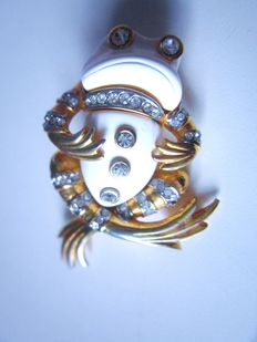 Vintage brooch frog by Kenneth Jay Lane 70's USA!