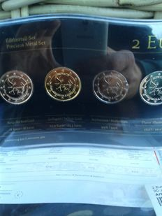 Monaco - 2 Euro 'Precious Metal Set' 2013 '20 Year of Admission to UN' (4 different coins)