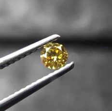 Diamond 0.17Ct Round brilliant - golden yellow color - VS