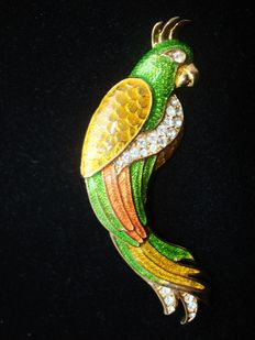 Vintage 1980s, Canada - Fancy gold plated enameled parrrot with paste/strass, pristine