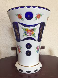 large enamel overlaid glass victorian vase
