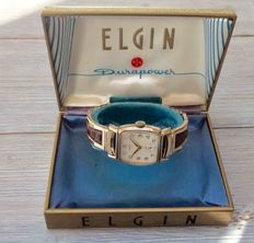 "Elgin ""Durapower"" Mens watch with box and paper from 1950's"