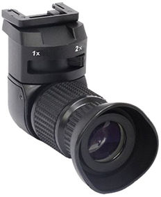 Professional angle viewfinder with 1-2 x magnification