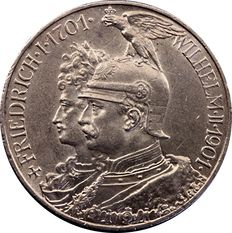 German Empire, Prussia - 5 Mark 1901 A 200 Years Kingdom of Prussia - silver