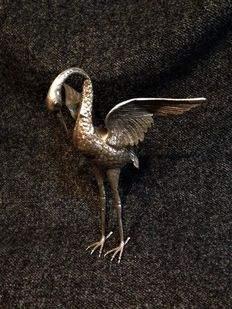 Heron crafted in .925 silver - Spain - Early 20th century,