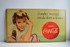 Vintage Coca-Cola advertising sign with stamp, from the 50s
