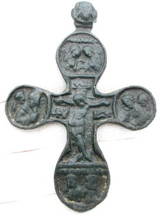 Late Medieval Cross Pendant with Elaborate Religious Scenes  - 86mm