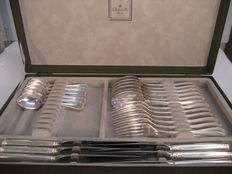 "Christofle ""Malmaison"" cutlery in sterling silver, 24 pieces with case"