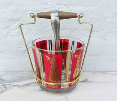 Vintage ice bucket with original tongs