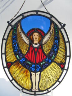 Glass studio Bogtman - Haarlem - stained glass - Art Nouveau stained glass presentation - girl with cornflowers