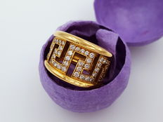 Gianni Versace – yellow gold 750/- designer ring with 48 brilliant diamonds, total of approx. 0.48 ct