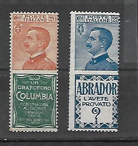 "Italy, 1924 - Advertising stamps -  20 cents ""Columbia"", and 25 ""Abrador"" -  Sassone catalogue # 4-20 -"