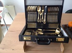 "SBS Solingen silverware - ""luxury"" 24 carat gold plated - 1000 fine gold -12 persons."