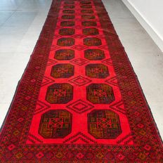 Superior, deep red Afghan Bukhara runner – 290 x 86 cm – superb quality