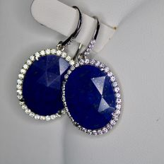 Sterling silver earrings with a large Lapis lazuli approx. 19.1 x 14.9 mm. Excellent condition.