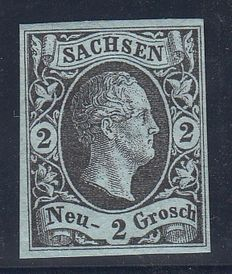 Germany - 1851 - Sachen Old States - 2 Grosch - Blue - New with no hinge, with gum