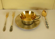 "Vintage rare soviet Russian silver (875/916/1000) gold gilded niello ,,Coffee breakfest compliment"" XX age"