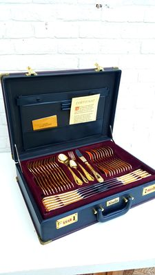Solingen Nivella - 70 - piece complete cutlery in cutlery case - 24 carat gold
