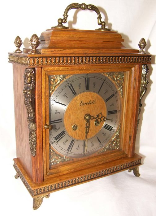 Wooden Eurobell table clock - FHS - 1976 period Germany