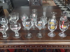 Lot with 18 rare beer glasses - Belgium, France, Germany - 20th century