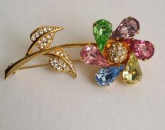 Vintage Joan Rivers Gold Tone Multicolored Moving Pinwheel Brooch