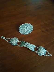 Silver brooch and bracelet