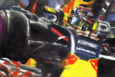 Max Verstappen Red Bull Renault RB12 F1 Car ORIGINAL Oil Painting on Canvas hand-made by Artist Andrea Del Pesco + COA.