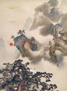 Large, remarkable scroll painting (88,5 x 214cm!!) by Okutani Shûseki 秋石 奥谷 (1871 - 1936) - sealed and signed - Japan - ca. 1920
