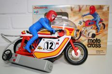 Joustra, France - Length 29 cm - Tin / plastic Motocross with battery motor, 1970s-80s