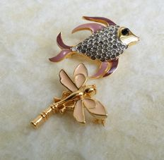 "Vintage D'ORLAN and TRIFARI Gold Tone ""Little Beauties"" Enameled Animal Figural Small Brooches."