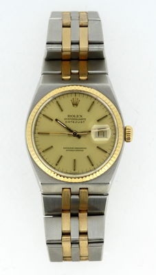 Rolex Oyster Quartz Datejust 18K Gold and Stainless Steel Mens Wristwatch