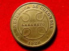 Colombian Republic – 50 cents 1928. Lazareto. Very scarce.