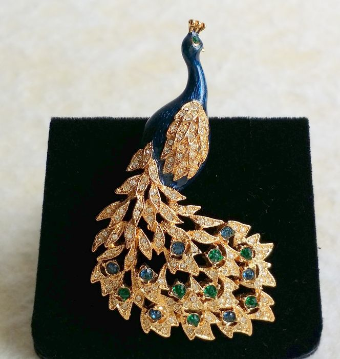 c9c13c47acc Vintage Signed D'ORLAN Gold Plated Green and Clear Swarovski Crystal Enamel Peacock  Brooch
