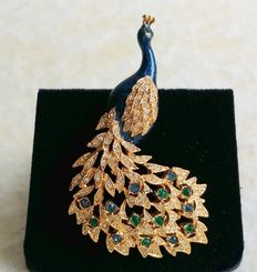 Vintage Signed D'ORLAN Gold Plated Green and Clear Swarovski Crystal Enamel Peacock Brooch