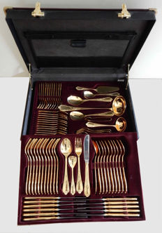 Nivella Solingen - Cutlery set for 12 people gold plated 23/24 carats stainless steel - 72 pieces