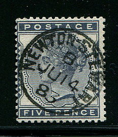 Great Britain 1880/1881 - Queen Victoria - Five Pence Indigo - Stanley Gibbons 169 - Marked NEWTON STEWART
