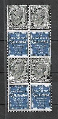 "Italy, 1924 – Advertising stamps  15 Cents ""Columbia""  Sassone No. 2 – block of four stamps"
