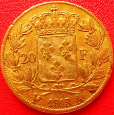 France – 20 Francs, 'Louis XVIII' 1818-A - Paris – Gold