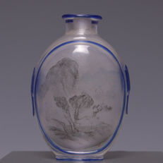 Glass snuff bottle, nicely painted on the inside - landscape scene - China - first half 20th century