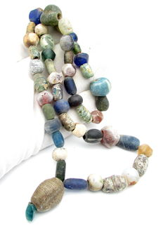 Viking Necklace with Coloured Glass Beads and stone Amulet   - 550 mm