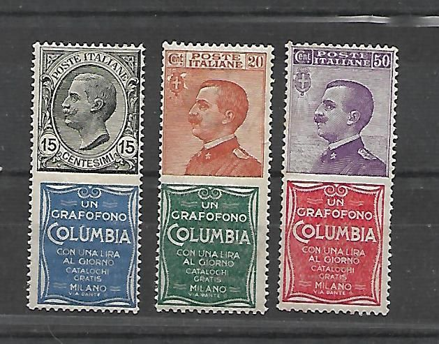 "Italy, 1924 - Advertising stamps -  15-20-30-50 cents, ""Columbia"" - Sassone catalogue # 2-20-9x2-11"