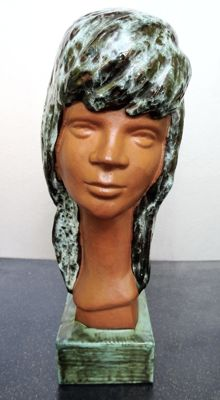 Alexander Roelandt - ceramic sculpture of a young girl with glazed hair and pedestal