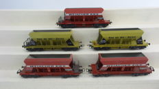 "Liliput H0 - 246 - Set of 5 hopper cars ""WEIACHER KIES"" and ""Kies AG Wil - Zürich""  of the SBB CFF"