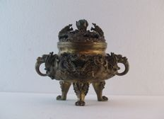 Bronze incense burner - China - late 20th century