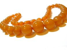 Vintage Baltic amber necklace 20th century from Russia/ honey  and butterscotch colour amber,  41 g