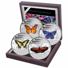 Congo - 4x30 Francs - butterflies 2014 - polished plate - 4 silver coins with noble box and certificate inclusive UV light
