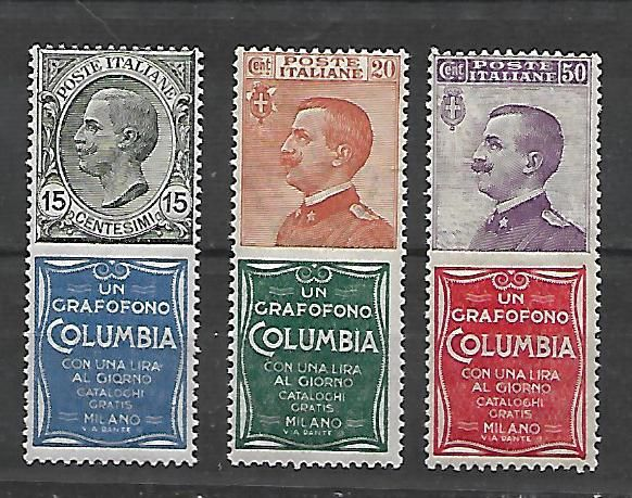 Italy, 1924 – Advertising stamps: Denominations: 15, 20, 50 cents – 'Columbia'. Sassone catalogue #: 2-20-11.