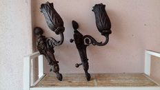 Pair of outdoor bronze candleholders - Italy -19th century
